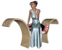 женщина стенда сидя каменная иллюстрация вектора