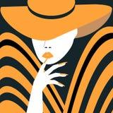 Женщина стиля с Желт-lipped улыбкой Стоковая Фотография RF