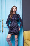 Женщина стиля моды состава одежды платья красоты сексуальная Стоковое Изображение RF