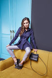 Женщина стиля моды состава одежды платья красоты сексуальная Стоковые Фото