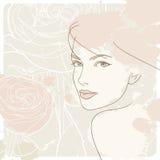 женщина стороны розовая s предпосылки Стоковая Фотография RF