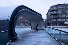 Женщина стоя на мосте стоковые фотографии rf