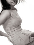 Женщина страдая от боли в спине backache Стоковое Изображение RF