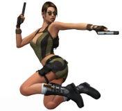 женщина стрельбы пушки Стоковое фото RF
