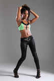 женщина студии модели способа афроамериканца сексуальная Стоковые Фото