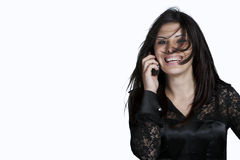 женщина студии съемки телефона волос грязная Стоковые Фото