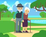 Женщина счастливого шаржа более старая в влюбленности outdoors Старые пары в иллюстрации вектора парка Стоковое Изображение