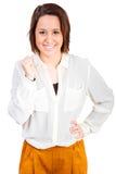 Женщина счастлива о ее успехе Стоковое Изображение