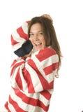 женщина США американского флага патриотическая Стоковое Фото