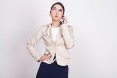 Женщина с активными выражениями Стоковое Изображение RF