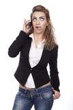 Женщина с активными выражениями стоковое изображение