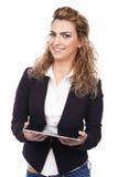 Женщина с активными выражениями стоковая фотография rf