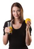 Женщина с апельсином Стоковые Изображения RF