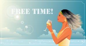 Женщина с бокалом вина на празднике Стоковые Изображения