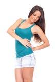 Женщина с болью в спине Стоковые Изображения RF