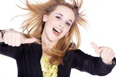 Женщина с большими пальцами руки вверх Стоковые Фотографии RF