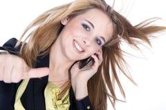 Женщина с большими пальцами руки вверх Стоковая Фотография