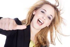 Женщина с большими пальцами руки вверх Стоковые Изображения