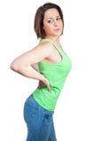 Женщина с болью в спине Стоковые Фото