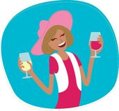 Женщина с вином Стоковое Изображение