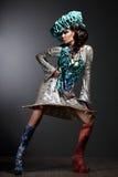Женщина с выражением лица и шлемом искусства Стоковое Фото