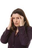 Женщина с головной болью или мигренью Стоковая Фотография RF