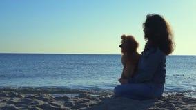 Женщина с ее собакой на песочном пляже моря сток-видео