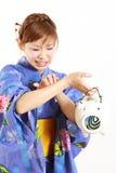 Женщина сдержанная москитом Стоковая Фотография