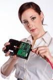 Женщина с жестким диском Стоковые Изображения