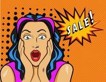 Женщина с знаком продажи Иллюстрация вектора в шипучке Стоковые Фотографии RF