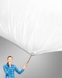 Женщина с знаменем Стоковое Фото