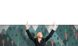 Женщина с знаменем Стоковые Фото