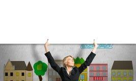Женщина с знаменем Стоковая Фотография