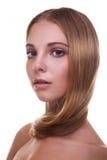 Женщина с здоровыми сильными волосами на белой предпосылке Стоковые Изображения RF
