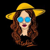 Женщина с изумленными взглядами и иллюстрацией шляпы иллюстрация вектора