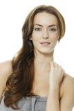 Женщина с длинними волосами Брайна Стоковое Изображение
