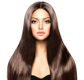 Женщина с длинными волосами Брайна стоковые изображения rf