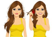 Женщина с длинными запутанными волосами Стоковые Изображения RF