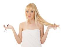 Женщина с интересовать ножниц Стоковое Изображение RF