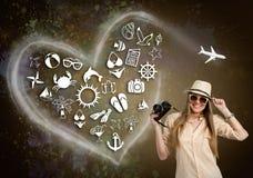 Женщина с камерой фото и проиллюстрированным значком праздника Стоковые Фото