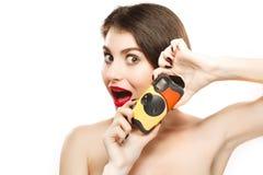Женщина с камерой Стоковые Изображения