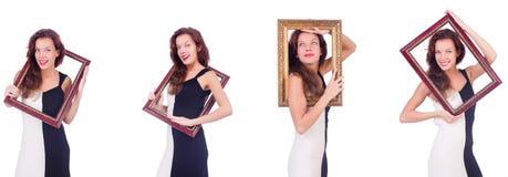 Женщина с картинной рамкой на белизне Стоковая Фотография RF