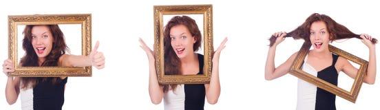 Женщина с картинной рамкой на белизне Стоковые Фотографии RF