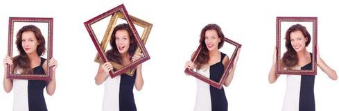 Женщина с картинной рамкой на белизне Стоковая Фотография