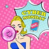 Женщина с кибер понедельником Стоковые Изображения RF