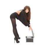 Женщина с коробками на белизне Стоковое Изображение RF