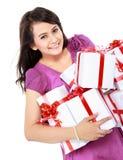 Женщина с коробкой подарка Стоковое Изображение RF