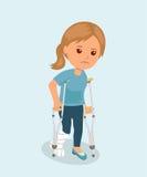 Женщина с костылями и медицинской повязкой гипсолита на ноге изолированная принципиальная схема 3d представляет безопасность бело иллюстрация штока