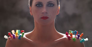 Женщина с красной губной помадой стоковая фотография rf