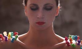 Женщина с красной губной помадой стоковая фотография